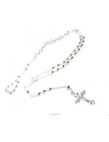 Collana rosario uomo o donna in Argento 925 croce lavorata palline 5 mm 67 cm silver light tone