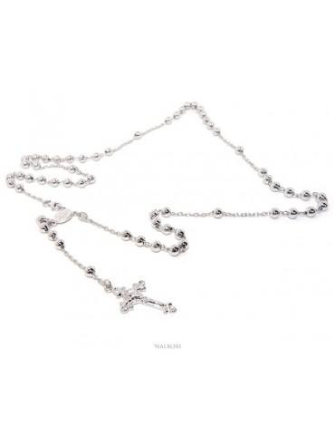 Collana rosario uomo o donna in Argento 925 croce lavorata palline 5 mm 67 cm Rodiato nalbori official store