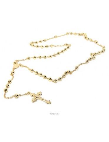 Collana rosario uomo o donna in Argento 925 croce lavorata palline 5 mm 67 cm Bagno oro Giallo 18kt nalbori