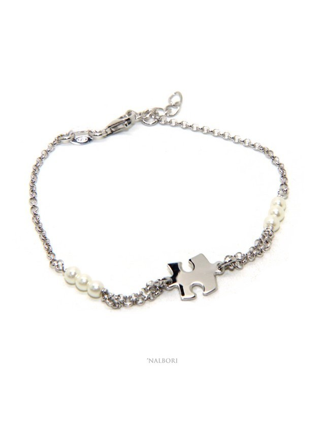 Bracciale uomo donna ragazzo Argento 925 lavorazione a rosario perle di vetro bianche con puzzle centrale 16,00-19,00 cm