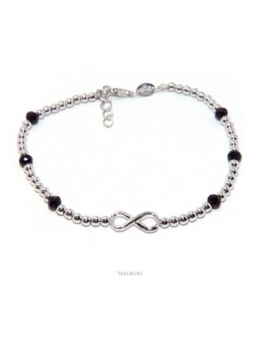 Bracelet man Silver 925 black crystal balls infinite 18.50 - 21 cm