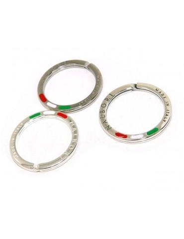 Portachiavi uomo o donna ad anello massiccio stampato made in italy bandiera italiana smaltata