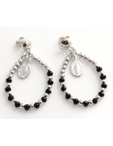 Argento 925 : orecchini donna rosario palline goccia e madonna