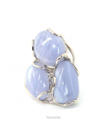 Silver 925: Adjustable women's ring handmade with natural blue chalcedony gems nalbori