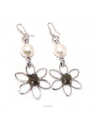 Orecchini in Argento 925 pendenti corindone naturale radice smeraldo perla barocca margherita nalbori