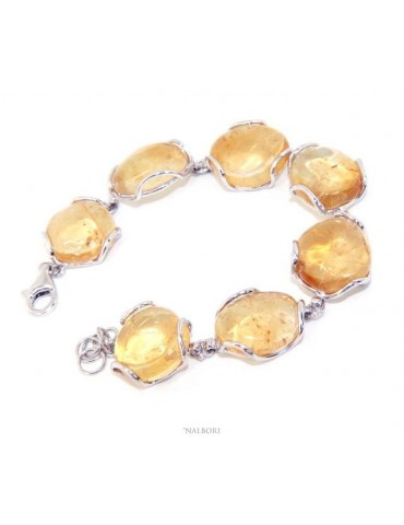 Bracciale donna in Argento 925 e pietre di citrino naturale giallo 30 gr