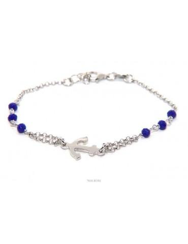 NALBORI Bracciale uomo donna Argento 925 lavorazione a rosario cristallo blu navy con ancora centrale 16,00-19,00 cm