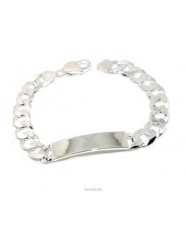 NALBORI Bracciale con targa per uomo in argento 925 chiaro, massiccio con catena grumetta da 10 mm circonferenza polso 20,5 cm