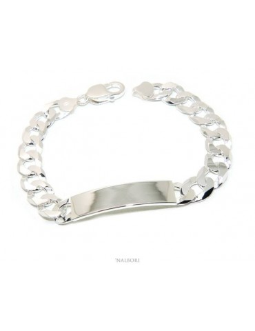NALBORI Men's plaque bracelet in light 925 silver, solid with 10 mm curb chain, wrist circumference 20.5 cm