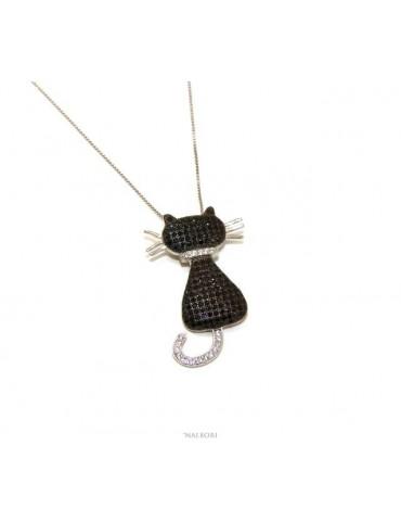 Argento 925 : Collana Collier donna veneziana con ciondolo gatto grande nero