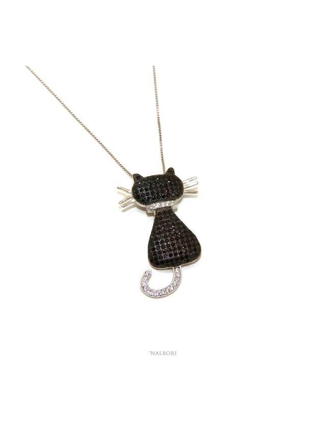 nuovo prodotto b1a8d e693f collana argento 925 collier donna gatto gattino gattone nero coda baffi
