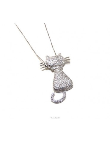 Silver 925: Collier necklace, Venetian woman with big white cat pendant