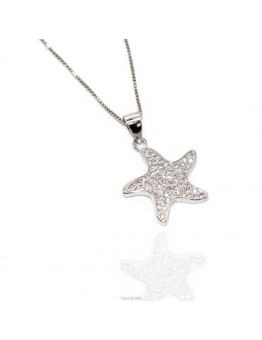 NALBORI Argento 925 : Collana Collier donna veneziana con ciondolo stella marina pavè di zirconi