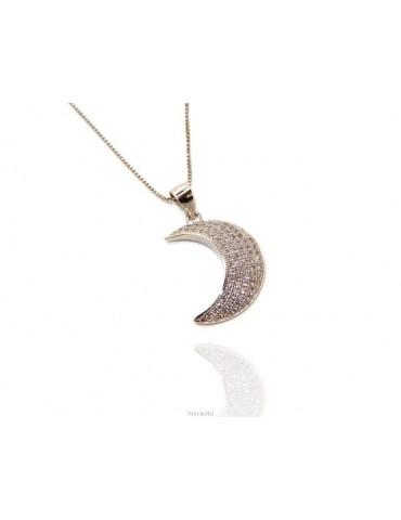 NALBORI Silver 925: Collier necklace, Venetian woman with zircon pavé half moon pendant