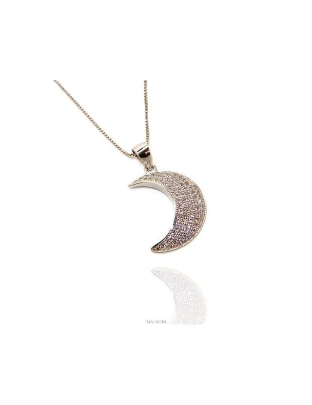 Argento 925 : Collana Collier donna veneziana con ciondolo mezza luna pavè di zirconi  nalbori