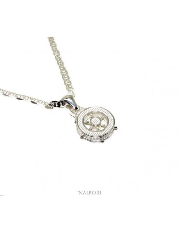 SILVER 925 solid: Marine necklace for men with rudder pendant NALBORI
