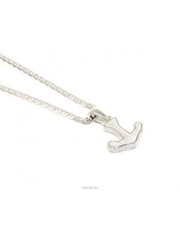 SILVER 925 solid: necklace for men with marine link pendant