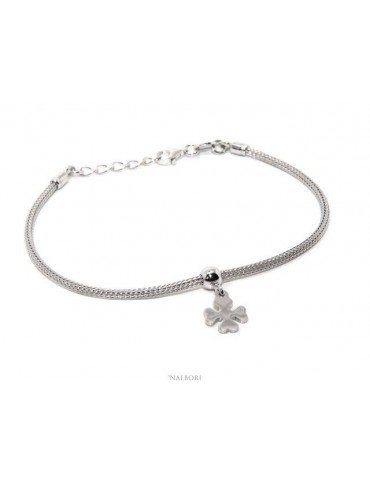 Bracelet 925 silver fox tail cable for woman or man pendant four leaf clover cm 16 - 19.50