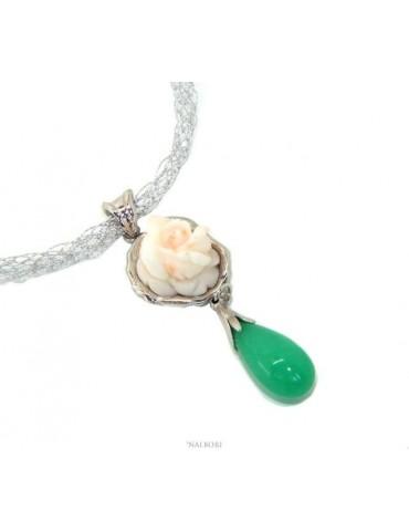 Collana collier argento 925 linea capri con ciondolo in corallo misu rosato bianco e goccia di giada verde