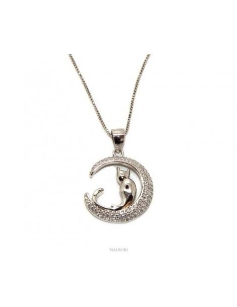 Argento 925 : Collana Collier donna veneziana con ciondolo gatto luna 19mm nalbori