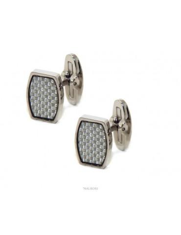 283/5000 NALBORI men's shirt cufflinks rectangular stainless steel with weft