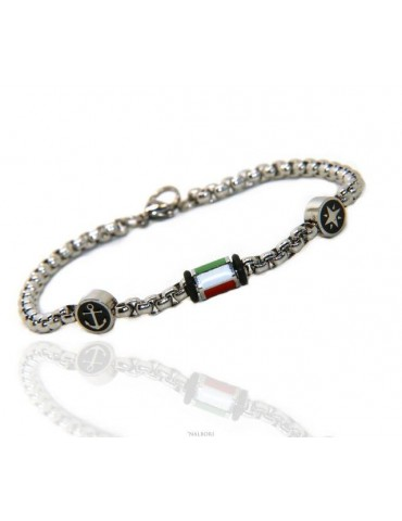 Steel bracelet man woman anallergic still wind rose Italian flag enamel 19 cm