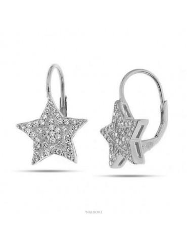 Orecchini donna a monachella in argento 925 stella micropavè di zirconi 13mm