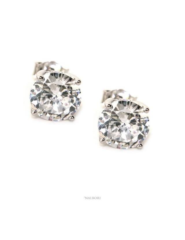 orecchini NALBORI uomo/donna punto luce perno e griffe zircone nero o bianco 7 mm