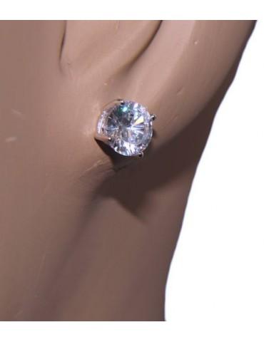 orecchini uomo/donna punto luce perno e griffe zircone nero o bianco 7 mm NALBORI