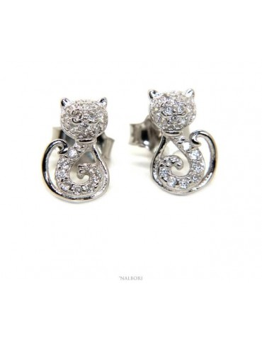 earrings woman 925 silver with white zircons cat stylized kitten contrariè NALBORI