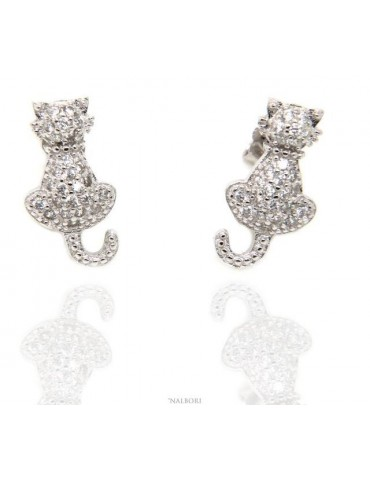 women's earrings 925 silver cat kitten contrariè pavé of white cubic zirconia