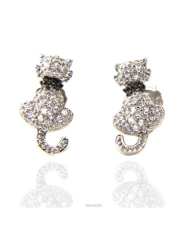 orecchini donna argento 925 con zirconi bianchi gatto gattino contrariè guinzaglio NALBORI