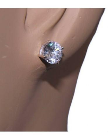 Parure donna punto luce 7 mm in argento 925 con zircone. Catena veneziana ciondolo passante e Orecchini abbinati