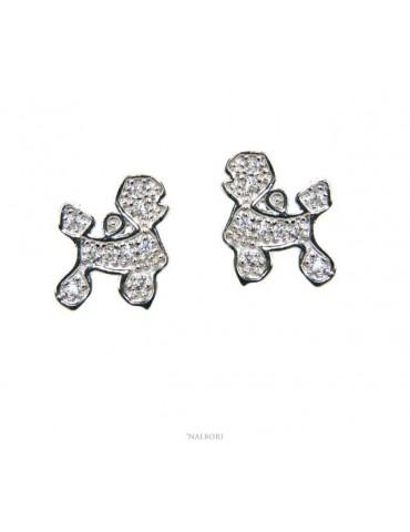 nalbori italy orecchini donna argento 925 con zirconi bianchi cane barboncino