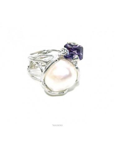 Anello donna argento 925 regolabile realizzato a cera persa con perla barocca e ametista viola naturale