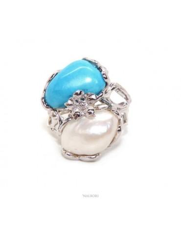 Anello donna argento 925 regolabile realizzato a cera persa con perla barocca ovale e turchese naturale