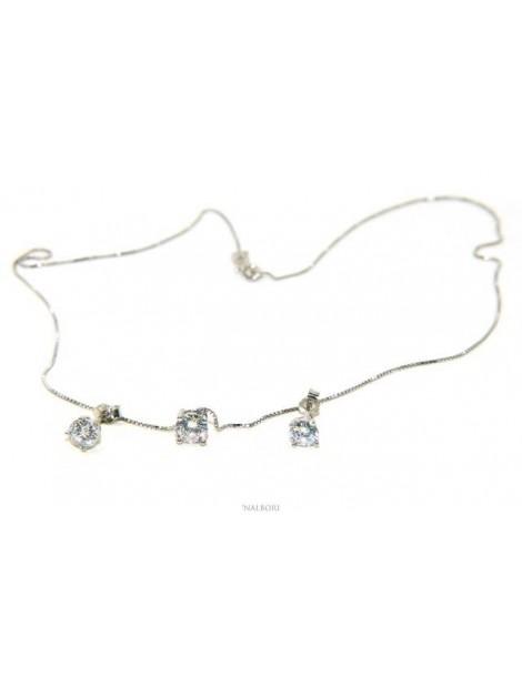 125458P Parure donna punto luce 5 mm in argento 925 con zircone. Catena veneziana ciondolo passante e Orecchini abbinati