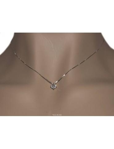 NALBORI 125458P Parure donna punto luce 5 mm in argento 925 con zircone. Catena veneziana ciondolo passante e Orecchini abbinati