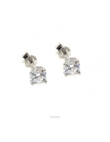 Silver 925: earrings man / woman light point pin and claw white zircon 5 mm