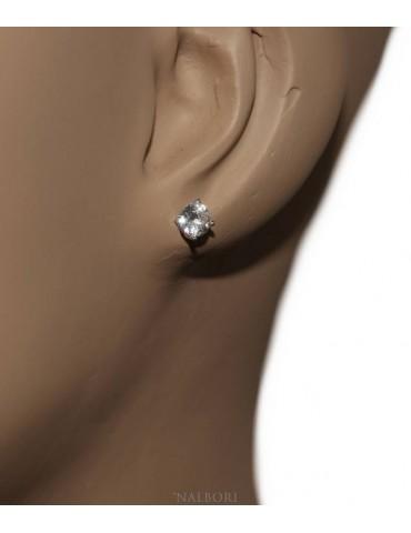 Argento 925 : orecchini uomo/donna punto luce perno e griffe zircone bianco 5 mm