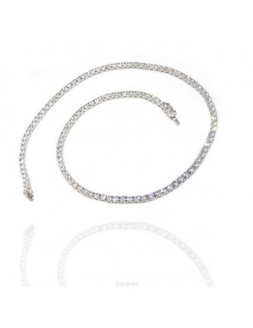 Argento 925 : Collana Collier donna modello Tennis con zirconi bianchi griffe 3 mm taglio brillante