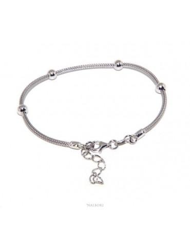 NALBORI ® bracciale fox tail cavetto argento 925 con palline lisce per uomo e donna
