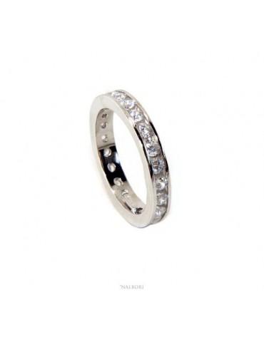 NALBORI Argento 925 Rodiato Eternity infinity fede tutto giro zirconi bianchi brillante 2 mm per uomo o donna