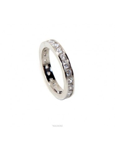 NALBORI 925 silver Rhodium plated Eternity infinity round all white brilliant zircons 2 mm for men or women