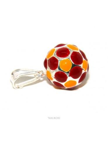 cioc14 - Argento 925 : Ciondolo uomo donna palla pallone da calcio giallorosso ROMA Made in Italy