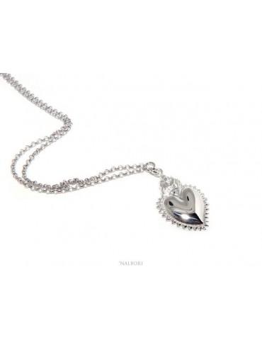 NALBORI collana argento 925 donna rolo' 45+5 con ciondolo sacro cuore fiamma ex voto bagno oro bianco