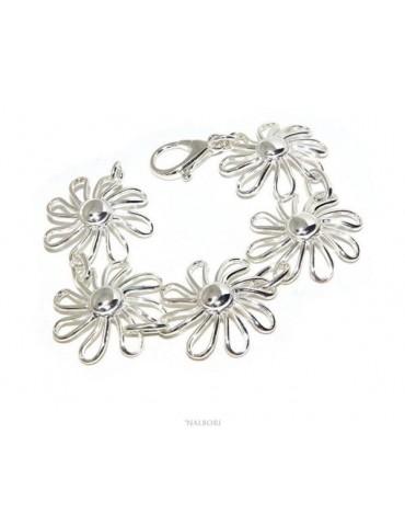 NALBORI 925 silver women's bracelet Mestoso Margherita daisy flowers Rigid exclusive design