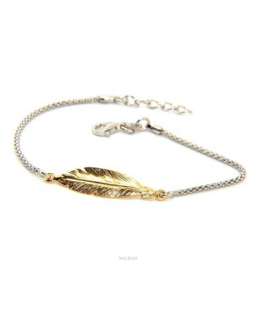 bracelet Silver 925 popcorn with central yellow gold leaf NALBORI 16 / 18,5 cm