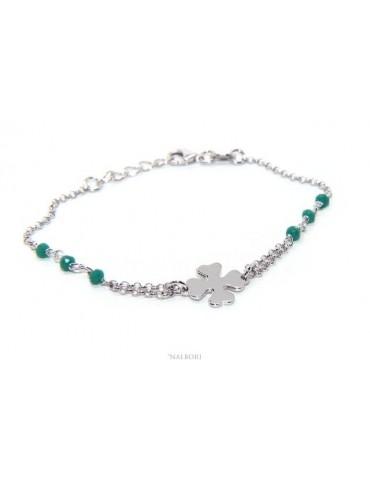 Bracciale donna Argento 925 lavorazione a rosario cristallo verde con quadrifoglio misura 15-18 cm