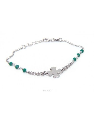 NALBORI Woman bracelet Silver 925 rosary working green crystal with four-leaf clover measuring 15-18 cm